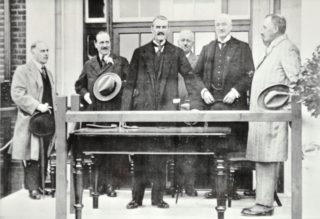 Opening Ceremony (L - R) Mr C J Brown (engineer), Col. F E Fremantle, Right Hon. Neville Chamberlain, Mr W C Horn, Mr William Whitelaw, Sir Theodore Chambers  | Hertfordshire Archives and Local Studies
