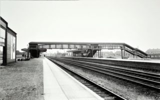 Station platforms with foot bridge, note only goes as far as platform 4. | Hertfordshire Archives and Local Studies