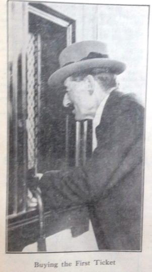 Neville Chamberlain buying the first ticket from Welwyn Garden City Booking Hall   Hertfordshire Archives and Local Studies