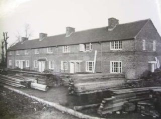 34 Boundary Lane, Welwyn Garden City. The block of houses on Boundary Lane under construction that we moved into - 1954.