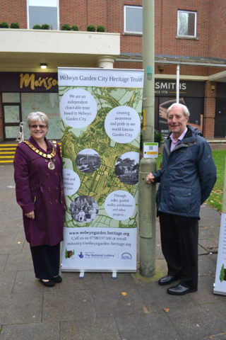 The launch by the Lynne Sparkes, the Mayor of Welwyn Hatfield (on the left) and Tony Skottowe, the Chairman of the Welwyn Garden City Heritage Trust