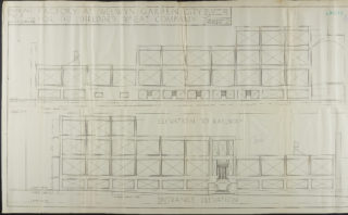 Entrance and railway elevations, Hertfordshire Archives and Local Studies UDC21/77/130