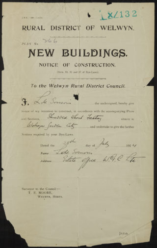 Notice of Construction 1924, Hertfordshire Archives and Local Studies, UDC21/77/130