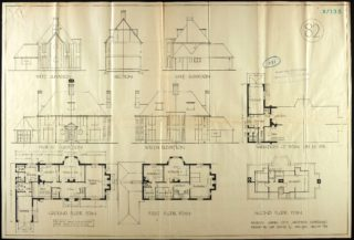 Floor plans and elevations for 21 and 25 High Oaks Road | Hertfordshire Archives and Local Studies UDC21/77/133 16 April 1924