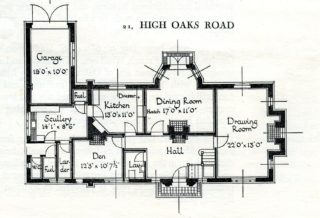 21 High Oaks Road, Ground Floor plan | Pamphlet file Hertfordshire Archives and Local Studies
