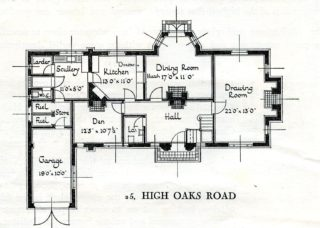 25 High Oaks Road, ground floor plan | Pamphlet file, Hertfordshire Archives and Local Studies