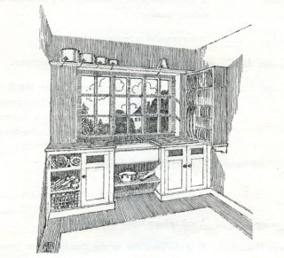 Artist impression, drawing of the Scullery | Pamphlet file, Hertfordshire Archives and Loacl Studies