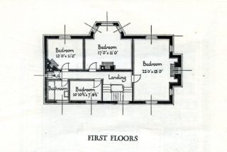 First floor plan for both houses in High Oaks Road | Pamphlet file, Hertfordshire Archives and Local Studies
