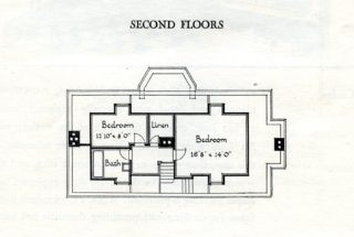 Second floor plan for both houses in High Oaks Road | Pamphlet file, Hertfordshire Archives and Local Studies
