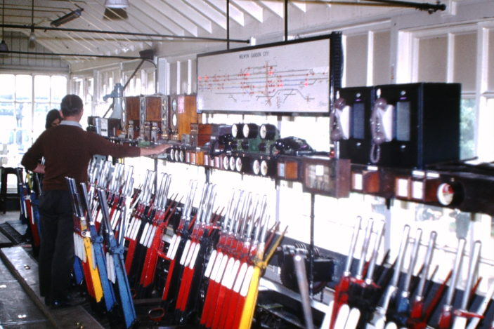 Inside the old mechanical signalbox at WGC.