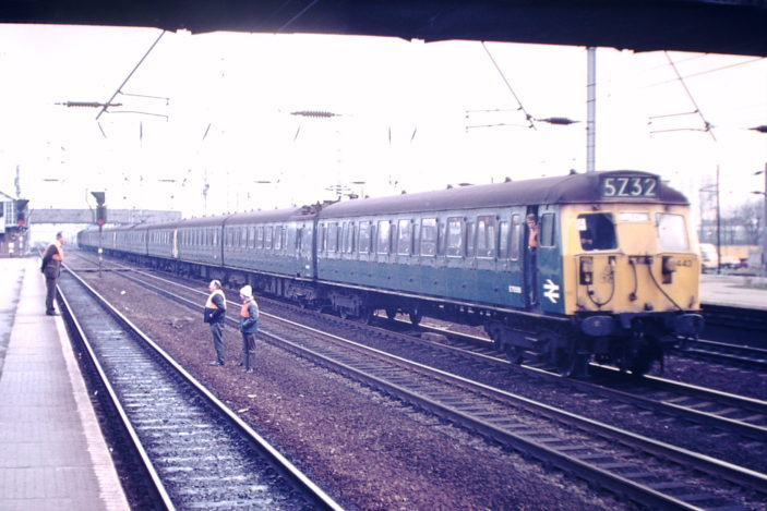 The first electric train at Welwyn Garden City. This was a test train, borrowed from the Liverpool St. route as the new Great Northern electric trains  were then unavailable.
