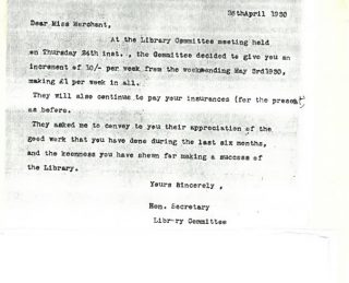 Letter to Rowena Merchant giving her a pay rise