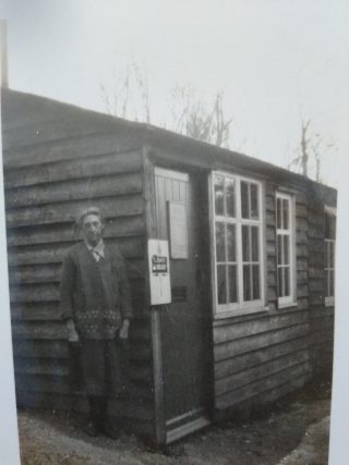 The Library Huts on Bridge Road - the person may be Mrs Bonney