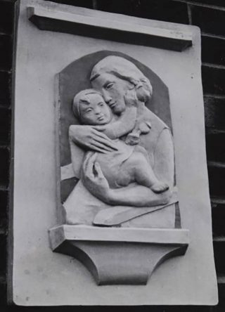 Photograph of a relief called 'Mother and Child' by David Evans, 1957 | John Chear (Hertfordshire Archives & Local Studies ref CNT/WH/1/2/4/22)