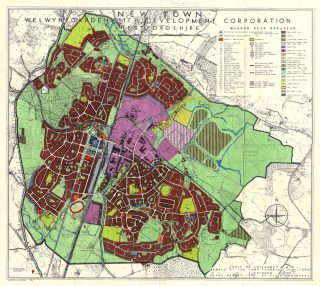 Map called 'Masterplan for Welwyn Garden City New Town', 1949 | Hertfordshire Archives & Local Studies (ref CNT/WH/12/1/2)