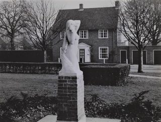 Photograph of a sculpture at Parkway called 'Dawn' by David Evans, c1950s | John Chear (Hertfordshire Archives & Local Studies, ref CNT/WH/11/1/2/4/23)
