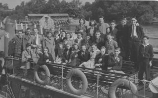 Group photograph of Sam Ostro on a staff outing from General Stampers, 1940s