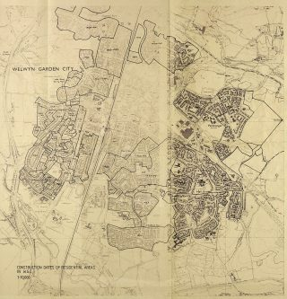 Map showing the growth of Welwyn Garden City by decade | Hertfordshire Archives & Local Studies (ref UDC21/89/1)