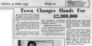Newspaper article called 'town changes hands for £2,800,000' | Hertfordshire Archives & Local Studies