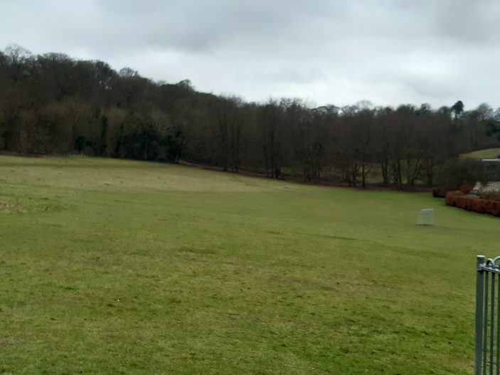Playing field from the play equipment, looking west towards Monks Walk, great place for sledging in winter. taken 2021