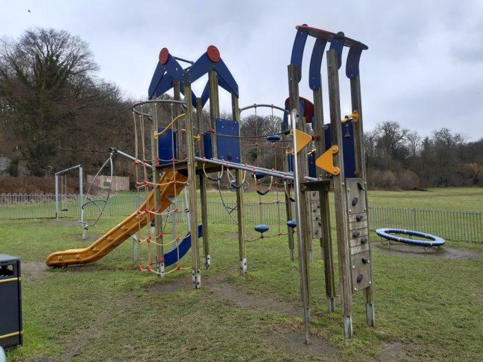 Shoplands palyground behind 185 Knightsfield, Welwyn Garden City. Modern play equipment, taken February 2021 | Susan Hall