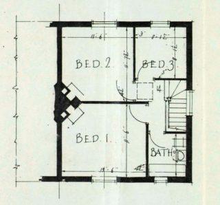First floor plan for 14 Barleycroft Road (UDC21/77/159) | Hertfordshire Archives and Local studies
