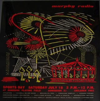 Murphy Radio Sports day poster designed by Reeve | Welwyn Hatfield Museum Service
