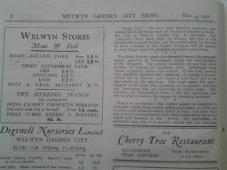 Welwyn Garden City News, Nov 4, 1921 |