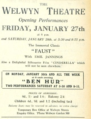 Advertisement for the opening performance at the Welwyn Theatre | Welwyn Garden City News 27 January 1928 page 3