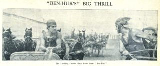The thrilling chariot race sceene from the silent film of Ben Hur | Welwyn Garden City News 27 January 1928 page 3