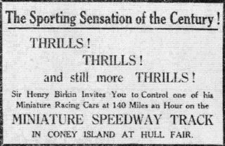 Adviertisement for Miniature Speedway Ltd | Daily Mail, Wed 12 October 1932