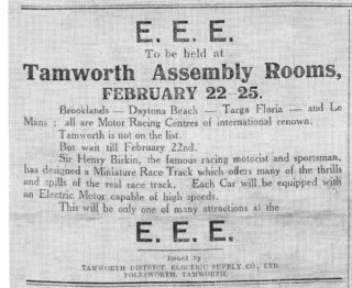 Advert for miniature racing track at Tamworth | The Tamworth Herald 28 January 1933
