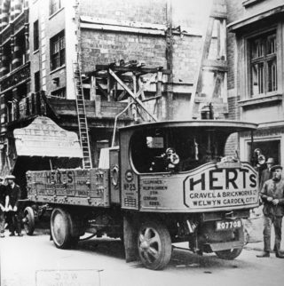 Gravel and Brickworks lorry in a London street | Hertfordshire Archives and Local Studies