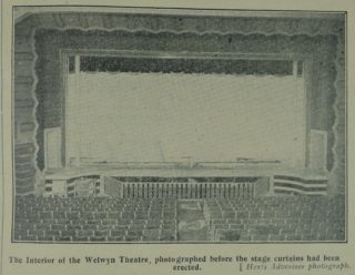 The interior of the Welwyn Theatre before the stage curtains had been erected | Welwyn Garden City News 27 January 1928 page 4