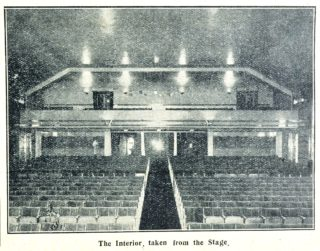 Interior of Welwyn Theatre taken from the stage looking towards the audience | Welwyn Garden City News 3 February 1928 page 5