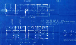 Floor plan of 23-26 Cul-de-sac A, Athelstan Walk, 29-32 Cul-de-sac B, Edgars Court, 12-15 Cul-de-sac F, Peartree Court. UDC21/77/204-206 | Hertfordshire Archives and Local Studaie