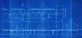Original elevation plans 11-15 Cul-de-sac D, Cheswick Court, 13-17 Cul-de-sac C, Goblins Green, 16-20 Cul-de-sac A, Athelstan Walk. UDC21/77/204-206 | Hertfordshire archives and Local Studies