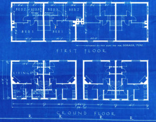 Floor Plans 1-4 Cul-de-sac b, Edgard Court, 9-12 Cul-de-sac A, Athelstan Walk UDC21/77/204-206   Hertfordshire Archives and Local Studies