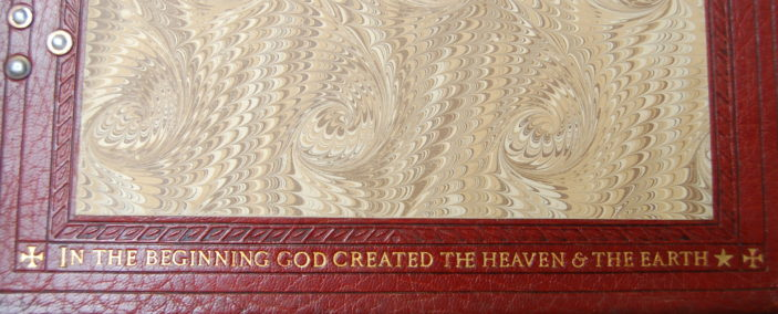 Lower inscription on the inside cover of the St Francis of Assis lecturn bible, taken 2015 | Susan J Hall