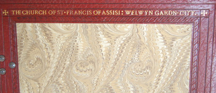 Top inscription inside the front cover of the St Francis of Assis Lecturn Bible, taken 2015 | Susan J Hall