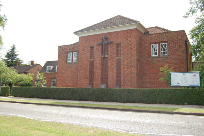 St Francis of Assisi church taken from Park Way, Welwyn Garden City, 2015 | Susan J Hall