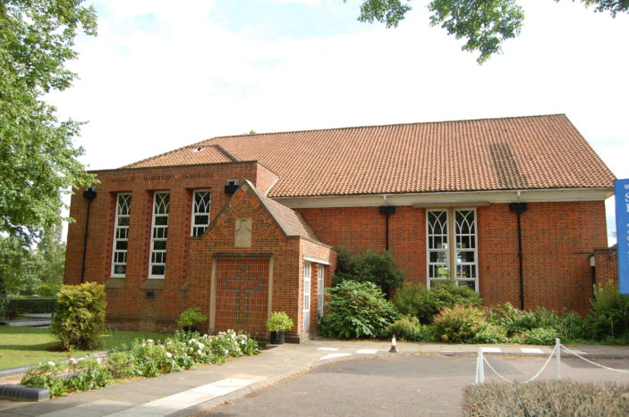 St Francis of Assis church taken from Church Road, Welwyn Garden City, 2015 | Susan J Hall