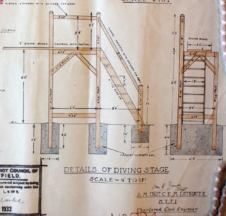 Details of Diving Stage UDC21/77/210 1933 | Hertfordshire Archives and Local Studies