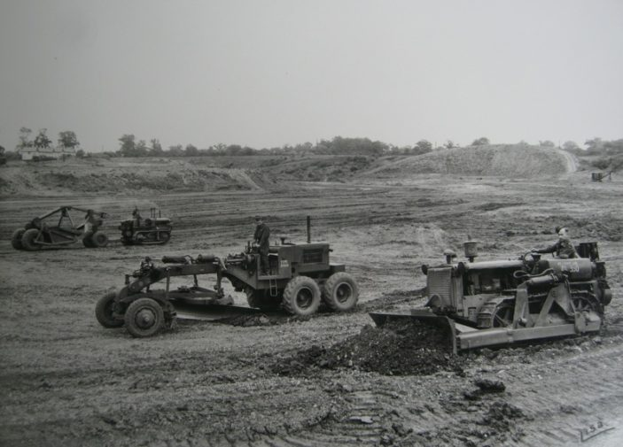 Earthmoving equipment training in the gravel pit which is now Gosling Stadium | Welwyn Hatfield Mill Green Museum
