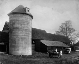 Farm buildings at Lower Handside Farm that would eventually become part of the Barn Theatre | Hertfordshire Archives and Local Studies