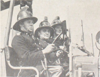 Driver Jack Palmer at the wheel of the new motor pump. Next to him is Capt. Dougherty and on the far side is Second Officer Jack Barnes | Welwyn Times, Photo by Lisa