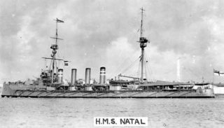 HMS Natal, the ship on which Arthur Hunt died in 1915.