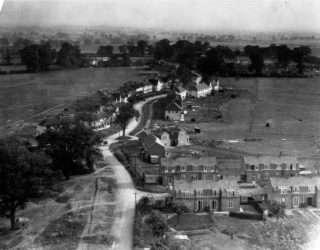 Handside Lane 1921, with Handside Farms in background | Hertfordshire Archives and Local Studies