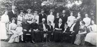 W J Horn (centre, with stick) and family, at his 80th birthday party. Youg Bill sits in front row. | Welwyn Garden City Library