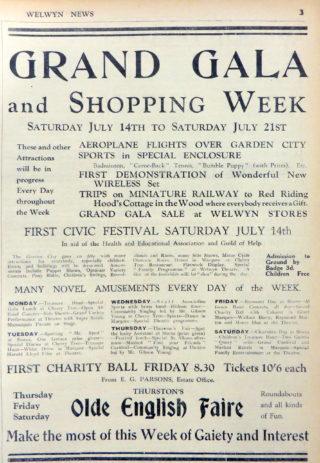 Advert for the event in Welwyn News   Welwyn News